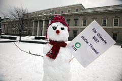 IMG_4032 Snowmen protest at Custom House, urging Gormley to publish Climate Change Bill