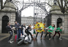 Tug of War - Activists outside Leinster House illustrate the