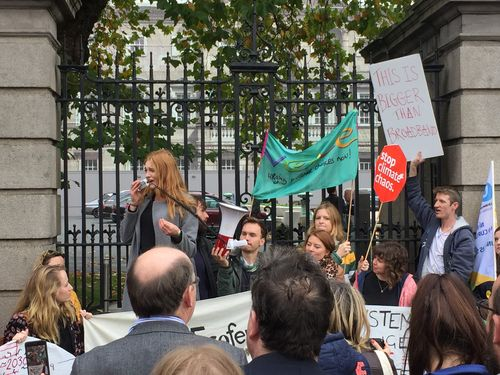 Aine speaking at post-Budget demo at Dail - 16 October 2018